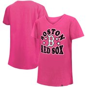 Boston Red Sox New Era Girl's Youth Jersey Stars V-Neck T-Shirt - Pink