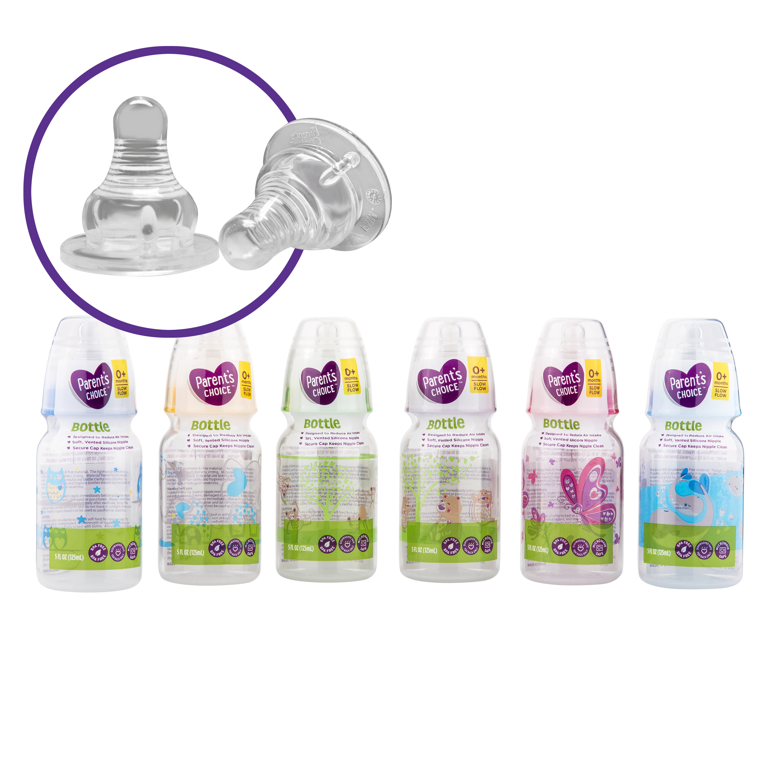 (4 Pack) Parent's Choice BPA Free Baby Bottles - 5-oz