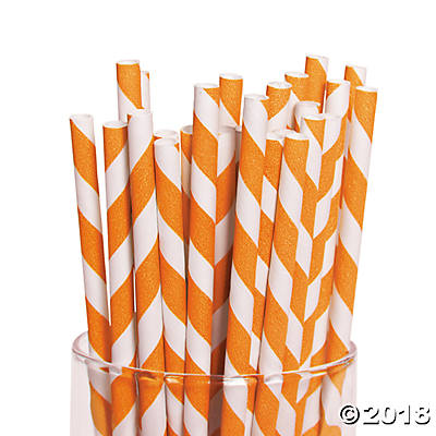 Orange Striped Paper Straws(pack of 2)