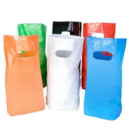 """8.75"""" x12"""" Small Glossy Colored Plastic Bags with Die-cut Handles – Grocery Sack for Retail, Merchandise, Donation Containers, Takeout Food, Shopping, Party, Mailing Bags, Gift Shop Grocery Sack Holder"""