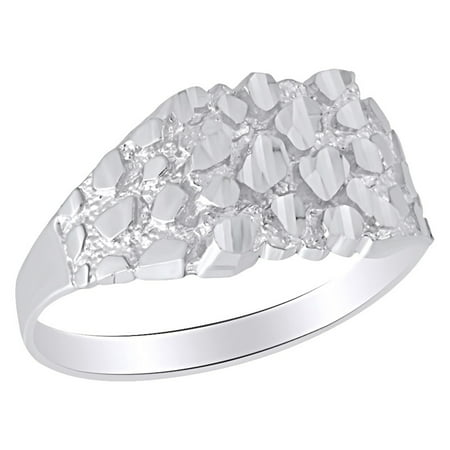 Nugget Style Men's Promise Ring In 10K Solid White Gold 10.5 MM Wide Ring Size-9 10k Gold Nugget Ring