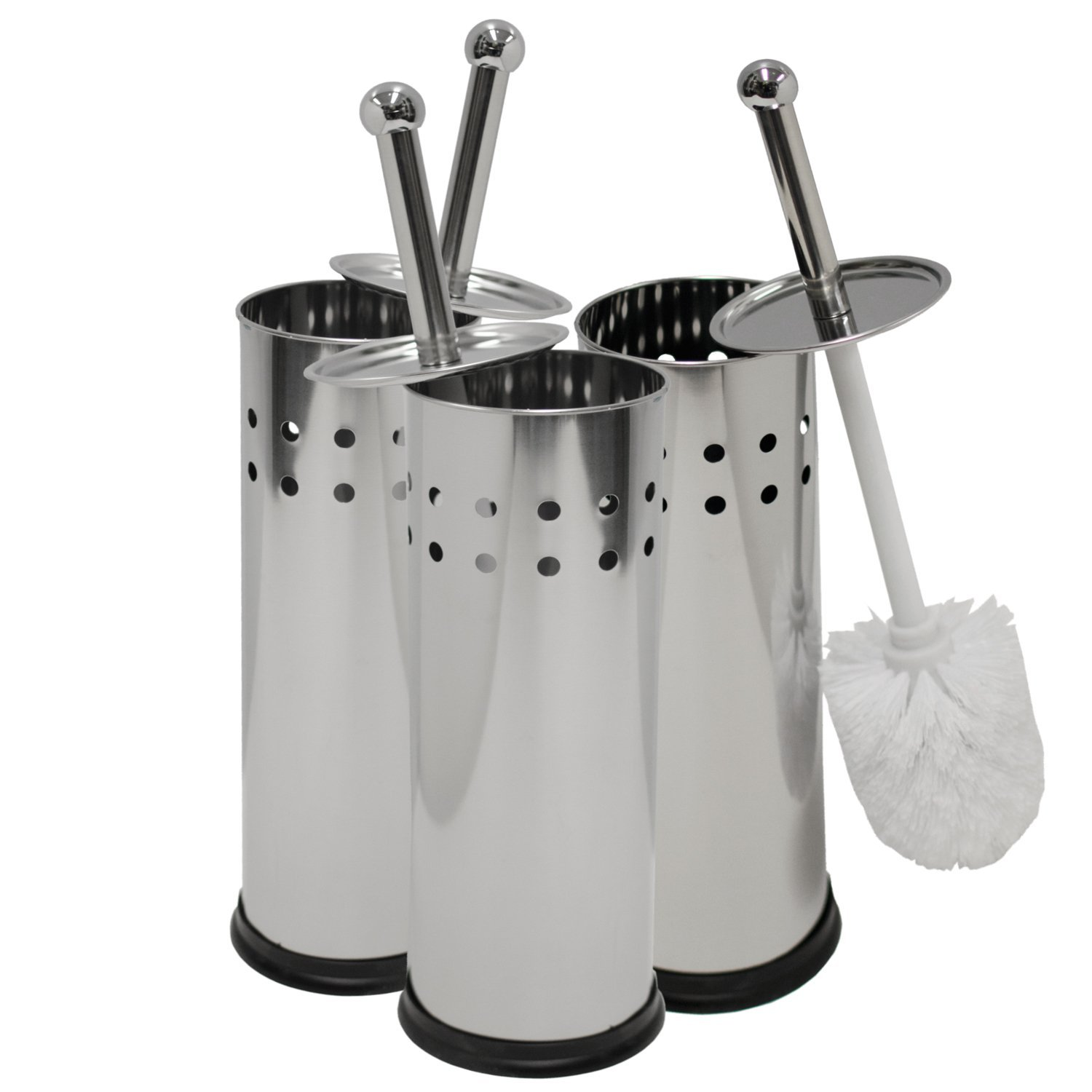 Oasis Collection Toilet Brush & Holder, Stainless Steel Circle Punch TB029915 Set of 3