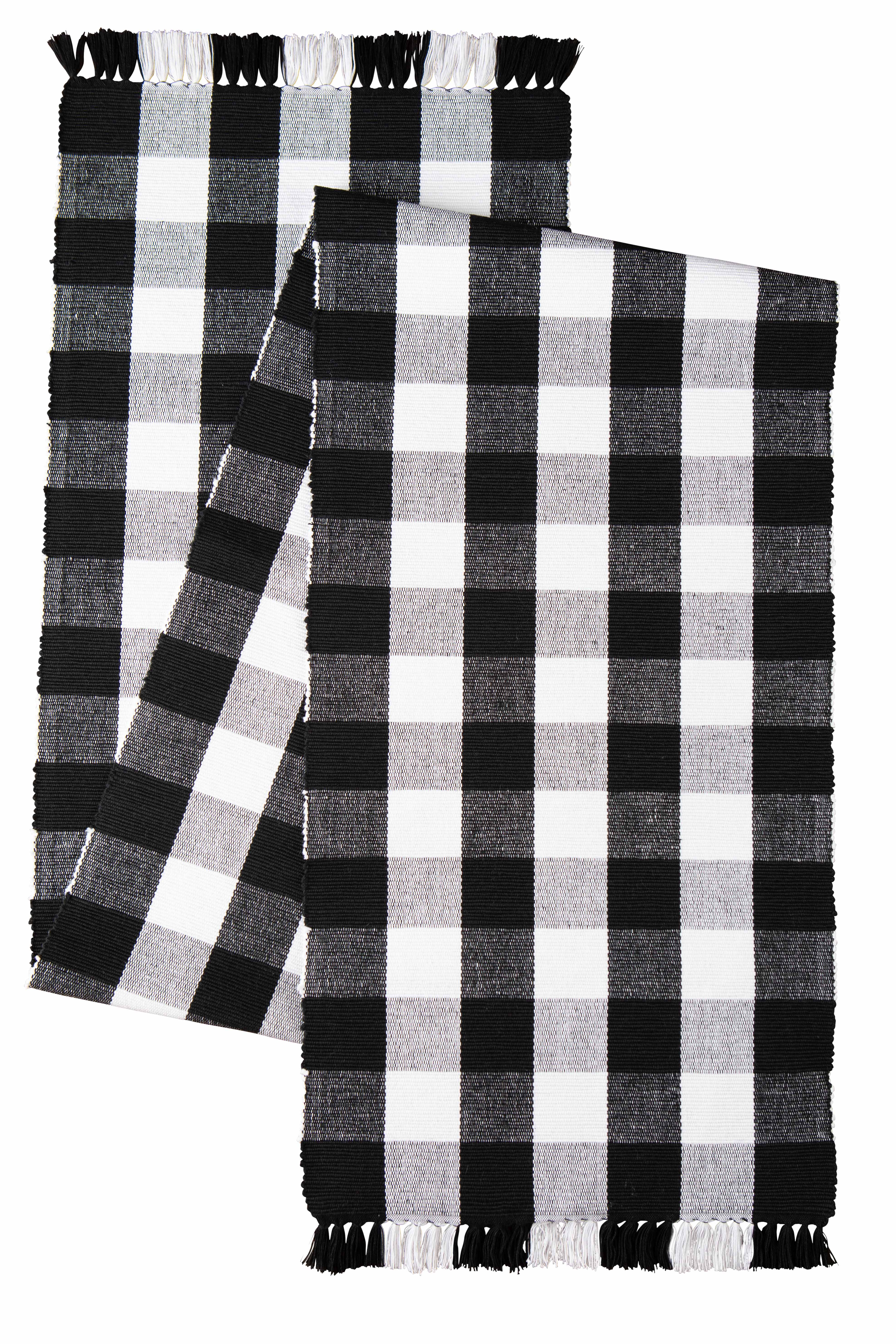 Mainstays 100 Cotton Table Runner Black And White Buffalo Plaid 1 Piece 13 In X 72 In Walmart Com Walmart Com