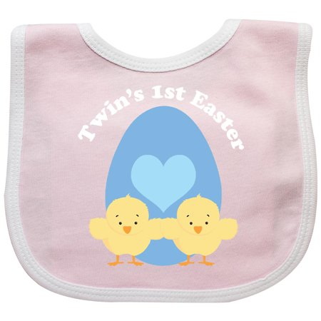Inktastic Twin Boys 1st Easter Baby Bib Twins First Egg Chicks Cute Babies Gift