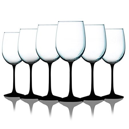 Midnight Black Wine Glasses with Beautiful Colored Stem Accent - 19 oz. set of 6- Additional Vibrant Colors Available