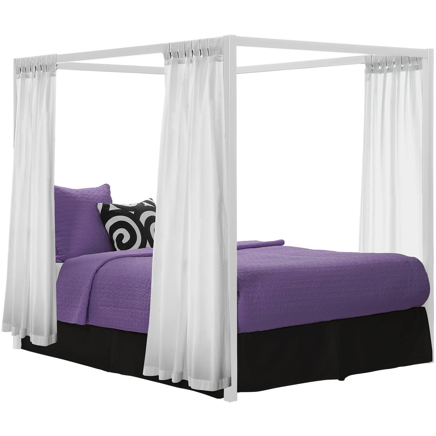 modern canopy queen metal bed, multiple colors - walmart