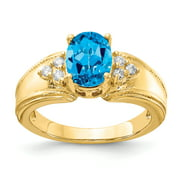 Primal Gold 14 Karat Yellow Gold 8x6mm Oval Blue Topaz and Diamond Ring