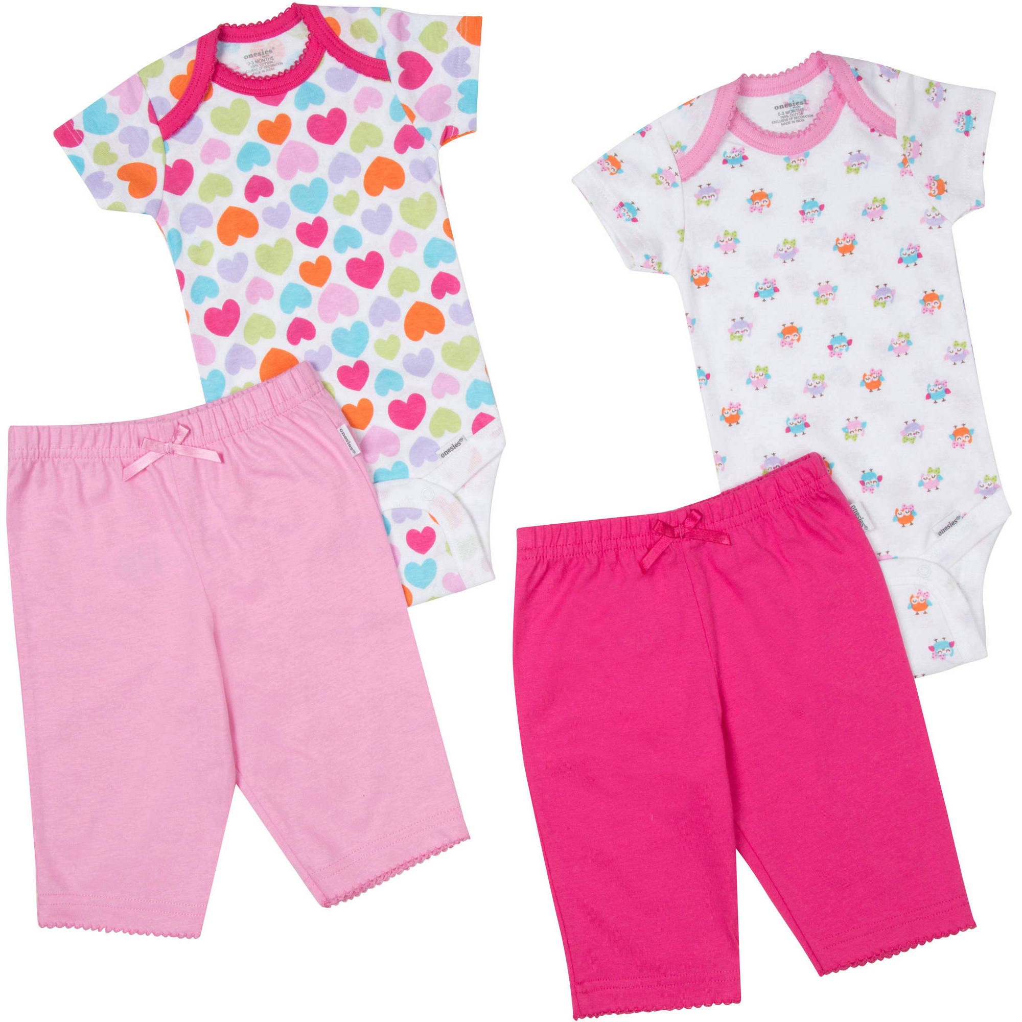 Onesies Brand Newborn Baby Girl Layette Set, 4-Piece