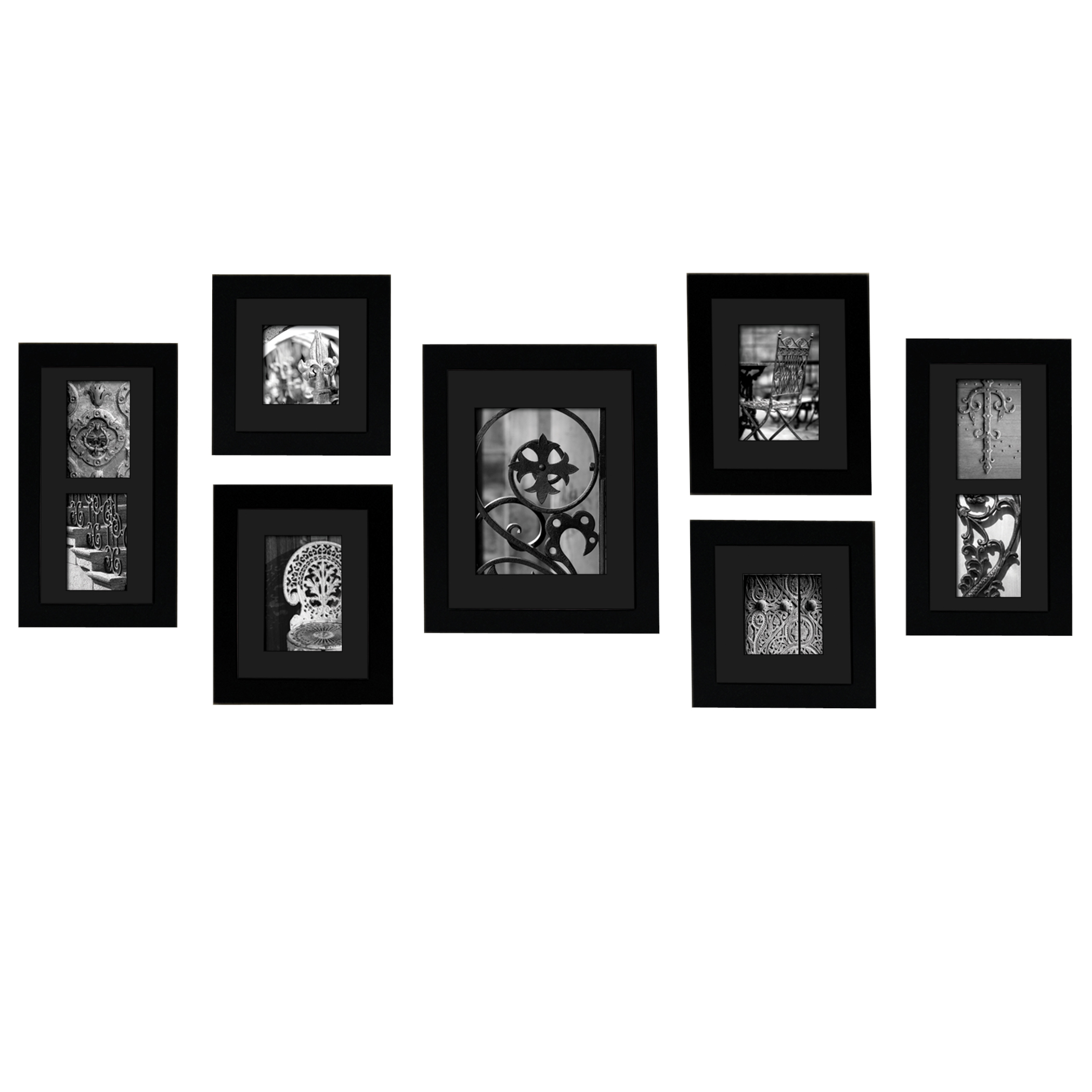 GALLERY PERFECT 7 PIECE BLACK PORTRAIT FRAME SET WITH BLACK MATS