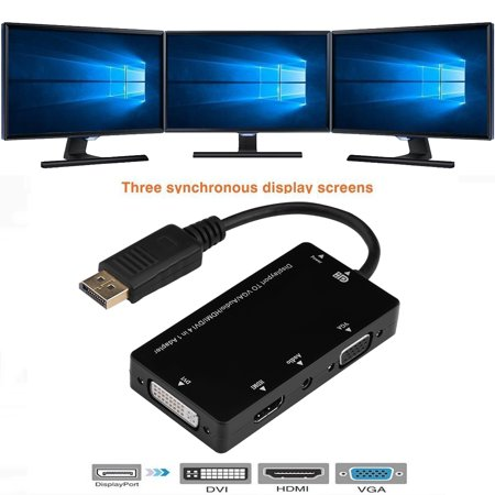 Ashata 4 in 1 DisplayPort DP Male to HDMI VGA DVI Audio Cable Adapter Converter For PC, DP to DVI, DP to Audio covid 19 (Vga Hdmi Converter Box coronavirus)