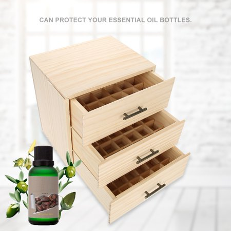 WALFRONT 90 Slots Three-tiered Essential Oil Bottle Container Wooden Storage Case Box Organizer , Essential Oil Organizer, Essential Bottle Container