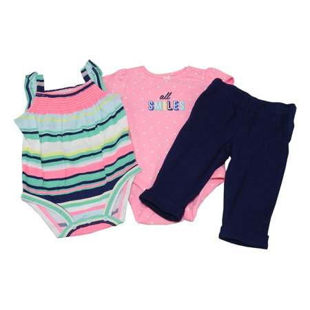 Carters 3-Piece Baby Girls 6 Months 2-Bodysuits & Pant Outfit, Pink/Blue/Multi