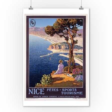 France - Nice - PLM - (artist: Bonamici) - Vintage Advertisement (9x12 Art Print, Wall Decor Travel Poster) - Nice Vintage Art