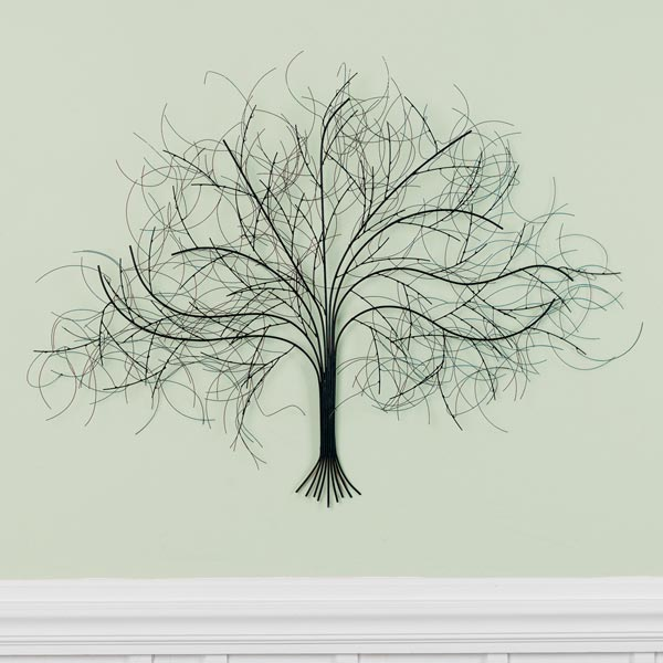 Black Tree Wall Decor Sculpture Handcrafted Metal Art by SIGNALS