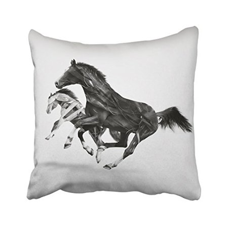Black And White Decorative Design (WinHome Black And White Running Horses Lines Design Art Decorative Pillowcases With Hidden Zipper Decor Cushion Covers Two Sides 20x20 inches)
