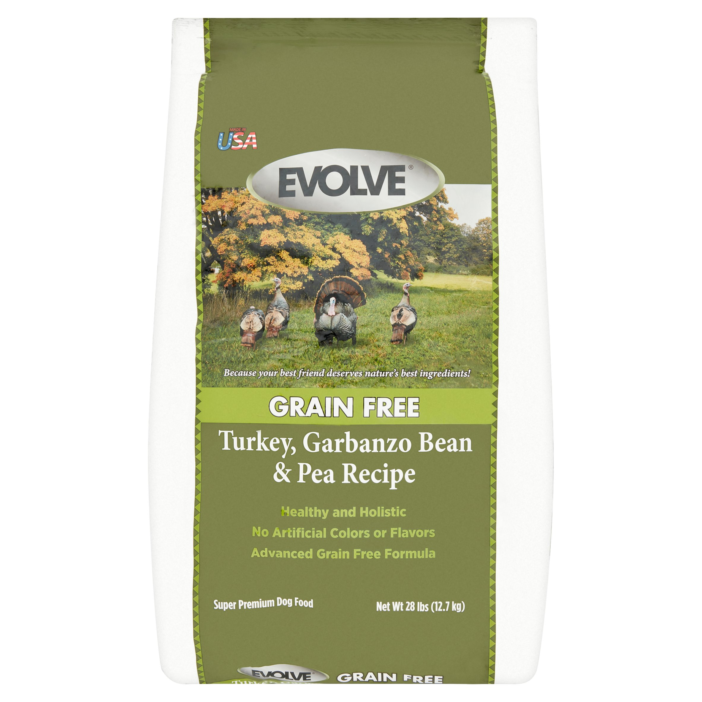 Evolve Grain Free Turkey, Garbanzo Bean & Pea Recipe Super Premium Dog Food, 28 lbs