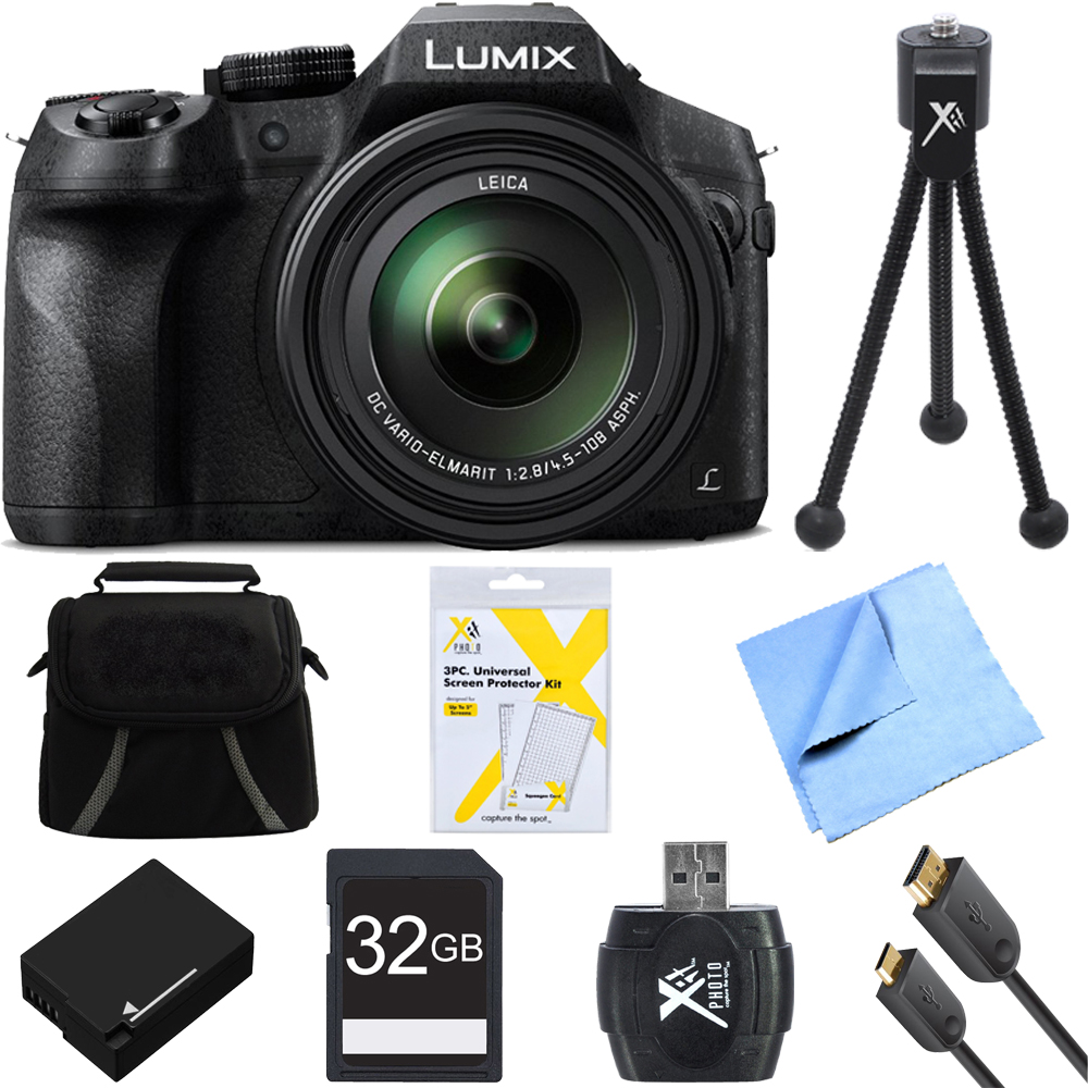 Panasonic DMC-FZ300K LUMIX FZ300 4K 24X F2.8 Long Zoom Digital Camera Bundle includes Camera, Bag, 32GB SD Card, Battery, Microfiber Cloth, 6' HDMI Cable, Card Reader, Mini Tripod & Screen Protectors