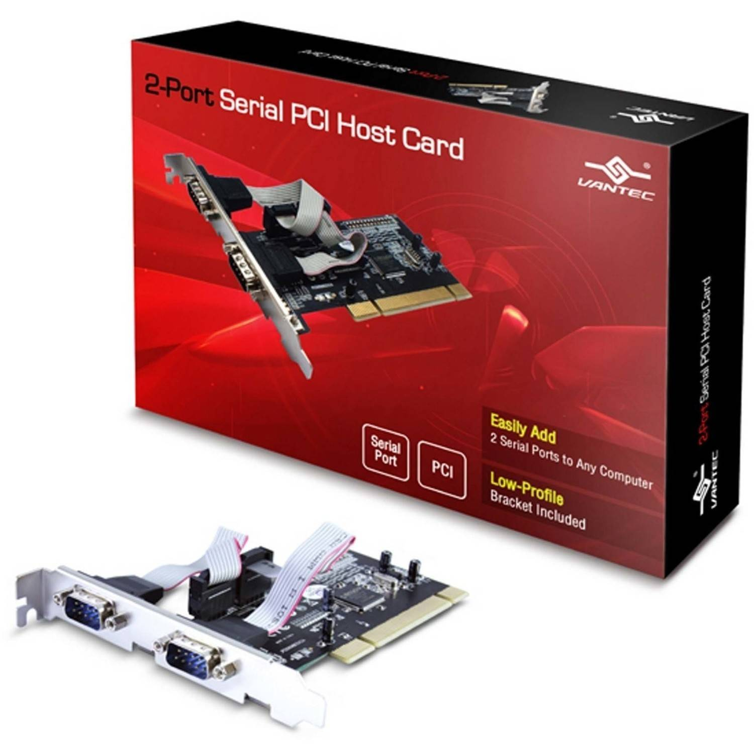 Vantec UGT-PC20SR 2-Port Serial PCI Host Card, Silver