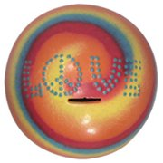 Metrotex Designs 36248 Love Sphere Bank With Removable Bottom Stopper-Red Tie Dye