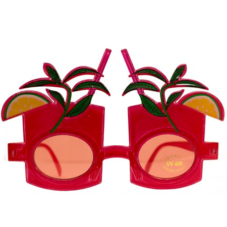 Luau Hawaiian Tropical Drink Sunglasses, Red Frame, Red Lens, (Sunglasses With Printed Lenses)