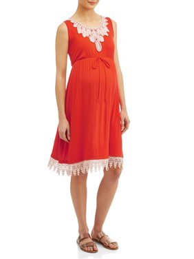 63c46eda8b8a4 Product Image Maternity Swing Dress with Crochet Detail