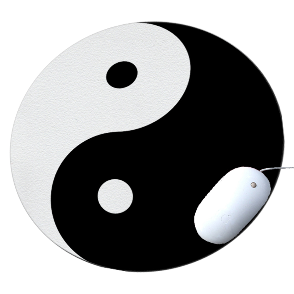 KuzmarK Round Mousepad / Hot Pad / Trivet - Ying Yang Art