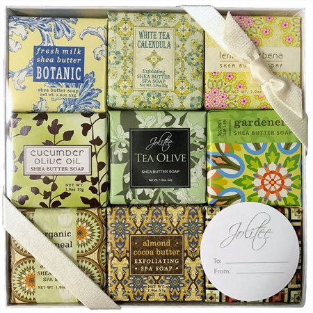 French Milled Botanical Soap Sampler Set in Nine Fabulous Scents, Individually Wrapped Vegetable Based Mini Soaps with Essential Oils, Shea Butter and Natural Extracts (Pure and Simple)