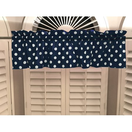 Navy Dot - cotton polka dots window valance 58 wide white on navy