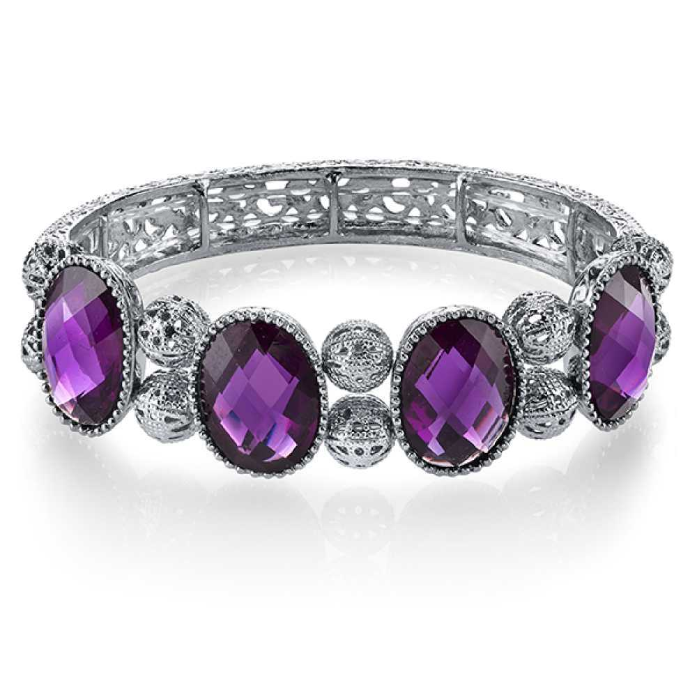 1928 Jewelry Womens Epoxy Silver-Toned Purple Faceted Stretch Fashion Bracelet