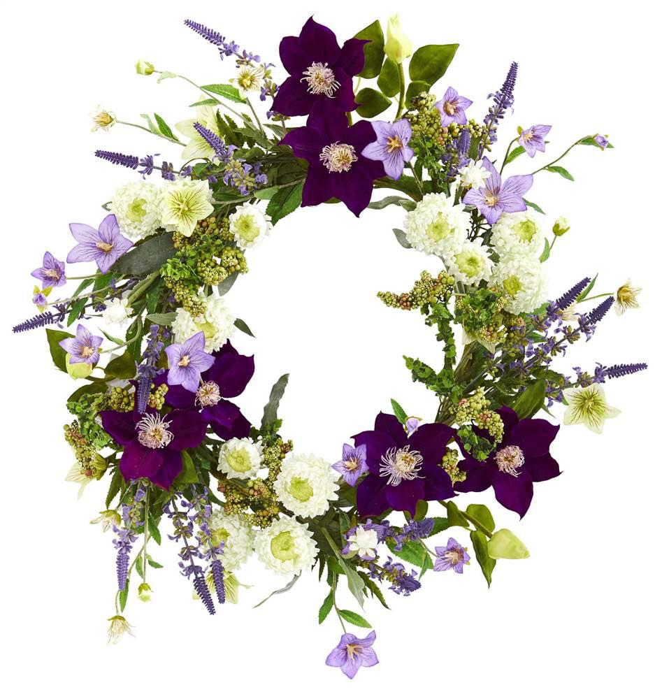 22 Mixed Flower Artificial Wreath