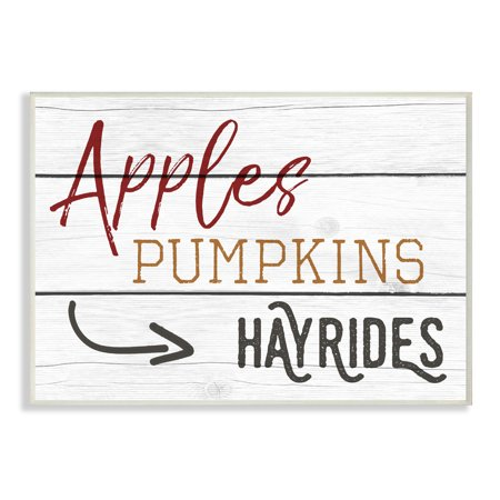 The Stupell Home Decor Collection Apples Pumpkins Hayrides Vintage Sign Wall Plaque Art, 10 x 0.5 x 15 (Pumpkin Art)
