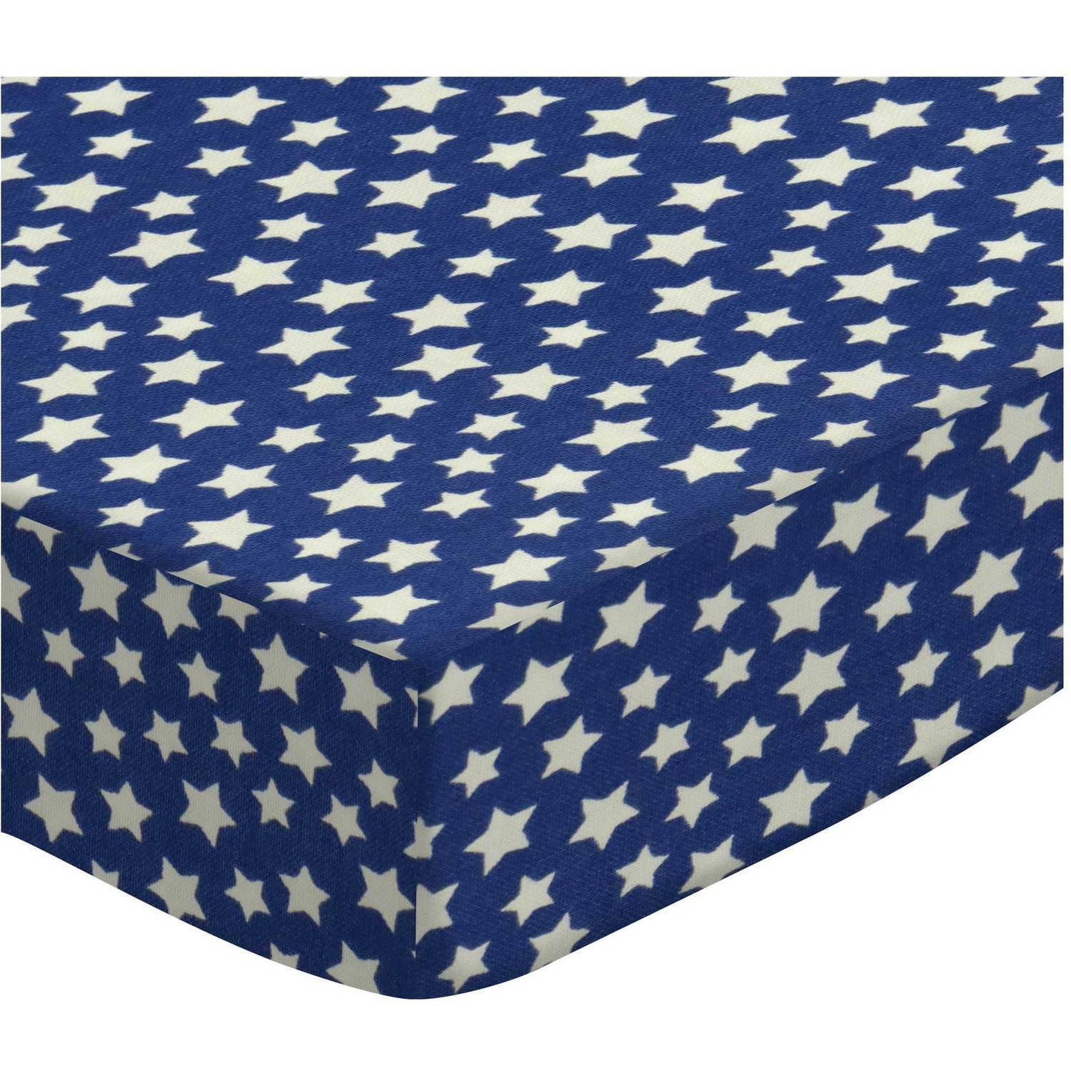 SheetWorld Fitted Crib / Toddler Sheet - Primary Stars White On Navy Woven (Choose Your Color)