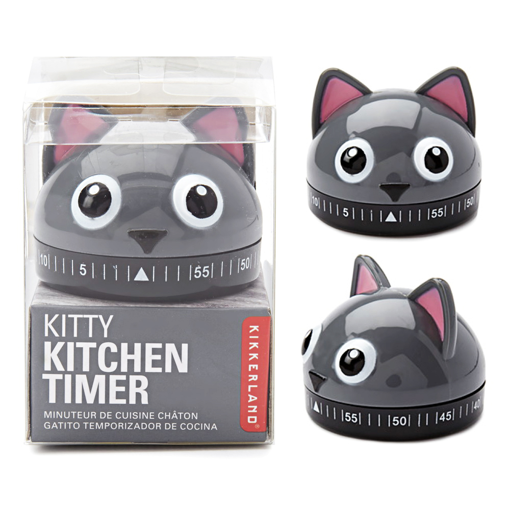 Kikkerland Kitty Cat Kitchen Timer 60 Min Cooking Count Down Clock Alarm Gift