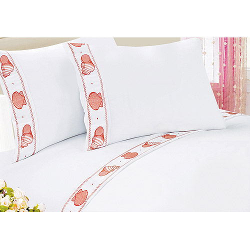 At Home Microfiber Embroidered Sea Shell Polyester Sheet Set