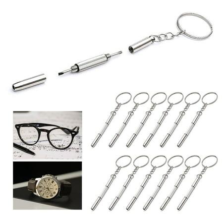 12 Precision Eyeglass Screwdriver Mini Keychain Sunglass Eyewear Repair Kit Tool - Mini Watch Keychain