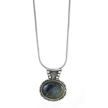 TAZZA WOMEN'S LABRADORITE NATURAL STONE PENDANT NECKLACES