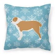 Carolines Treasures BB3528PW1818 Winter Snowflake Central Asian Shepherd Dog Fabric Decorative Pillow