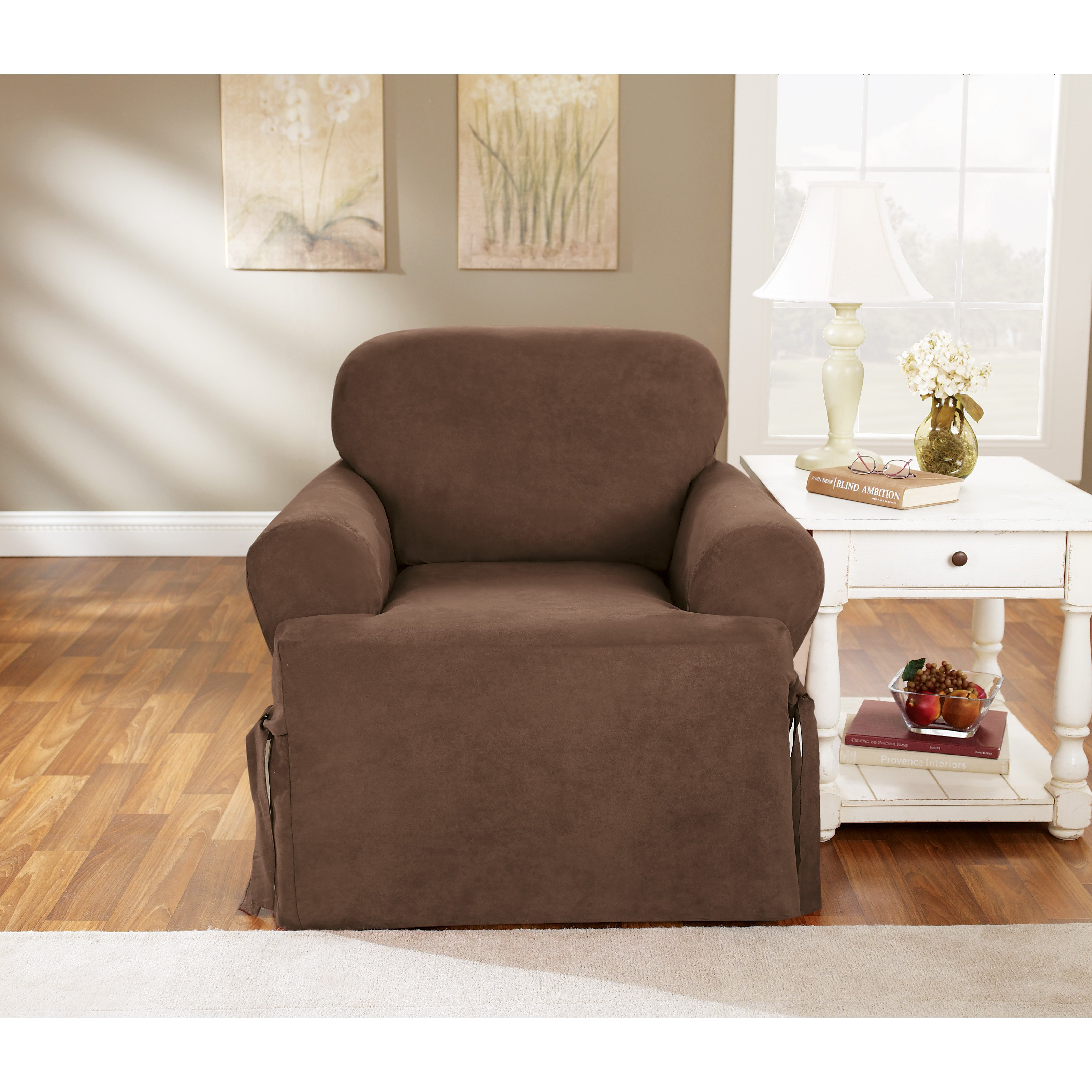 Sure Fit Soft Suede T Cushion Chair Slipcover Walmart