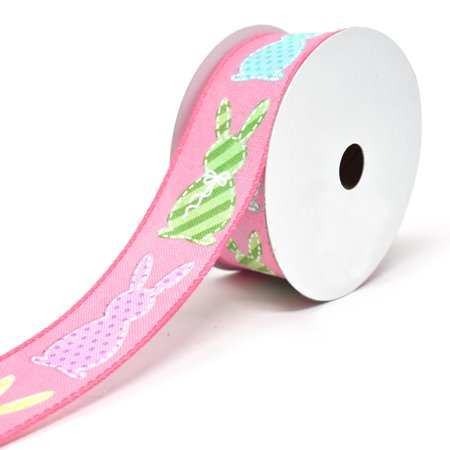 Stitched Bunny Cut Outs Wired Linen Ribbon, 1-1/2-Inch, 10-Yard, Fuchsia