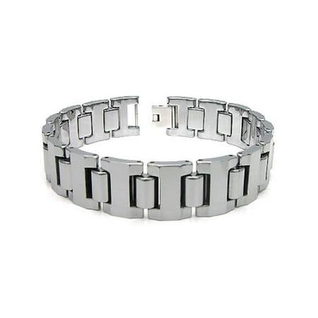 Titanium Kay Tungsten Carbide 16MM Men's High Polish Finish Chrome Color Link Bracelet Sz 7.5