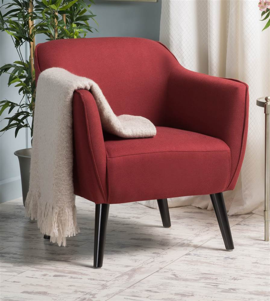 Upholstered Arm Club Chair in Deep Red