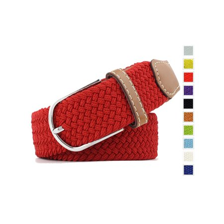 Studded Woven Belt (Men's Braided Stretch Belts PU Leather Elastic Fabric Woven Webbing Belt Red )
