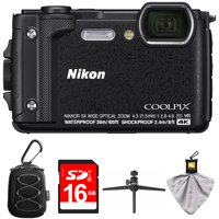 Nikon COOLPIX W300 16MP 4k Ultra HD Waterproof Digital Camera Black (26523) with Camera Case with Carabiner, 16GB Memory Card, Mini Table-top Tripod with Clear Case & Microfiber Cleaning Cloth