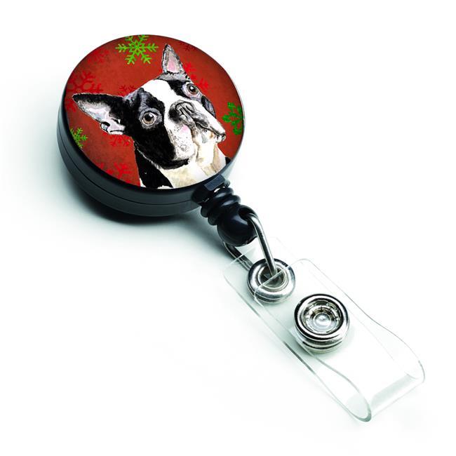 Carolines Treasures SC9400BR Boston Terrier Red & Green Snowflakes Christmas Retractable Badge Reel - image 1 de 1