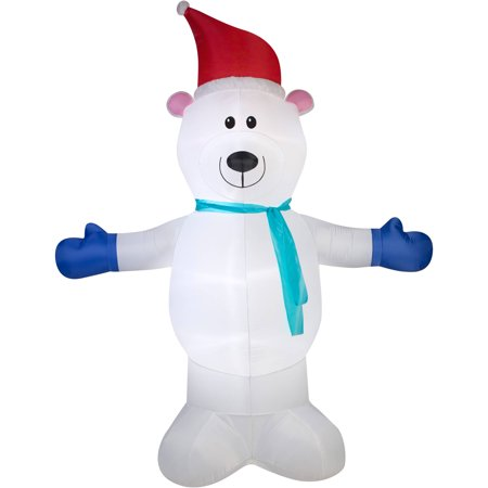 Gemmy Airblown Inflatables Christmas Inflatable Polar Bear with Scarf, 10'
