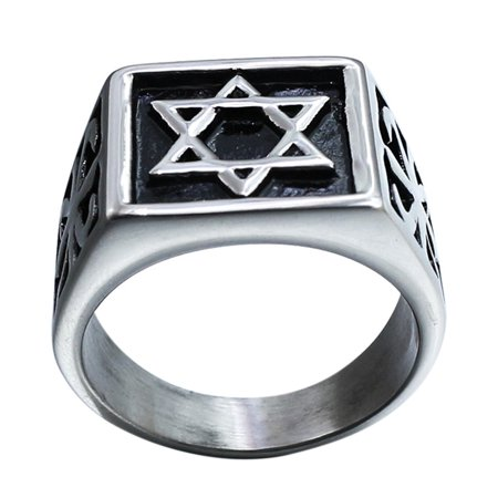 Unisex Creative Retro Religions Six-pointed Star Design Ring Exaggeration Fashionable Christmas Gift Ring