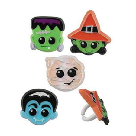 24pack Halloween Characters Cupcake / Desert / Food Decoration Topper Rings with Favor Stickers & Sparkle Flakes (Halloween Type Food)