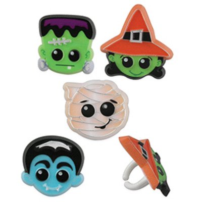 24pack Halloween Characters Cupcake / Desert / Food Decoration Topper Rings with Favor Stickers & Sparkle Flakes (Halloween Wedding Toppers)