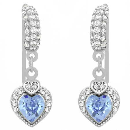 Clear CZ and Aquamarine Blue Swarovski Crystal Sterling Silver Heart Love Designer Dangle Drop French Wire Earrings