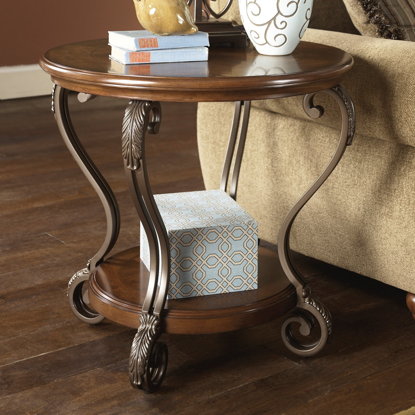 Signature Design By Ashley Nestor Brown Round End Table